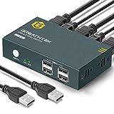 GREATHTEK HDMI KVM Switch USB 2 Port 4K, 4 USB 2.0, 4K@30 Hz, KVM Switch 2 PC 1 Monitor, KVM USB Umschalter,Ultra HD,mit 2 USB und 2 HDMI Kabeln