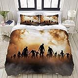 Bettbezug, Zombies Dead Men Walking Body im Doom Mist am Nachthimmel Haunted Theme, Bettwäsche-Set Ultra Bequeme leichte Luxus-Polyster-Bettbezüge