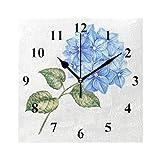 RELEESSS Quadratische Wanduhr Hortensien Blume nicht tickend leise Home Decor Uhr für Esszimmer Wohnzimmer Schlafzimmer Küche Büro Schule