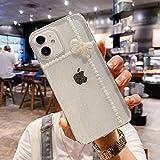 CrazyLemon Hülle für iPhone 12/12 Pro, Schön Niedlich Weiß Beads Bowknot Design Glitter Transparent Case Funkeln Durchsichtig Weich Silikon Dünn Stoßfest Handyhülle für Mädchen Frauen - 02