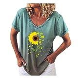 Pullover T-Shirt Damenmode V-Ausschnitt Bedruckt Kurzärmelige Sonnenblume Loose (S,7Grün)