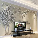 3D Wandaufkleber DIY Baum Wandtattoos Wandkunst Sticker Wandbilder Wanddekoration für Hause Weihnachten Schlafzimmer, Halle, Treppen, Babyzimmer, Kindergarten (Silber Links,M-250 * 130cm)