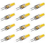 12 Stück G4 LED Lampe 6W 600LM, Ersetzt 60W Halogenlampe, 360° Abstrahlwinkel 12V AC/DC, Kein Flackern CRI 85, Nicht Dimmbar G4 LED Leuchtmittel Birnen Glühbirne,Cool White,39 * 10mm