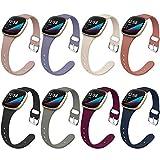 Surundo 8 Stück dünne schmale Bänder kompatibel mit Fitbit Versa 3/Fitbit Sense Smartwatch, Ersatz Sport dünne schmale Armbänder Armbänder Accessrioes für Damen Herren (L)