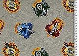 Harry-Potter-Trikot – Harry Potter – Haus-Logos grau – Jersey-Stoff – HEM144 – ab 0,5 Meter – von Hemmers – 95% Baumwolle 5% Spandex Stretch Jersey-Strickstoff (Harry Potter – House Logos grau HEM144)