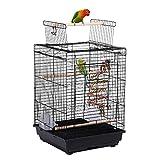 Yaheetech Vogelkäfig mit Vogelspielzeuge Wellensittichkäfig Nymphensittiche Fink Papageienkäfig mit Dach 40 x 40 x 58