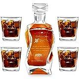 Murrano Whiskey Karaffe + 4er Whiskygläser Set mit Gravur - 700ml Whisky Dekanter - Geschenk zum Geburtstag für Damen - Oma