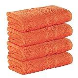 StickandShine 4er Set Premium Frottee Handtuch 50x100 cm in orange in 500g/m² aus 100% Baumwolle Öko-TEX Standard 100 M