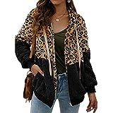 ABINGOO Damen Kapuzenjacke Warm Mantel Teddy-Fleece Plüschjacke Leopard Casuale Zip Hoodie Cardigan Outwear,Schwarz,2XL