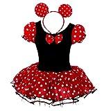 Lito Angels Minnie Mouse Kostüm Mini Maus Kleid Baby Kinder Mädchen Polka Dot Tüllrock Karneval Halloween Geburtstag Weihnachten Party Verkleidung mit Minimaus Ohren Haarreif Gr. 6-12 Monate