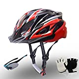 Fahrradhelm, Fahrradhelme mit Sonnenblende und Handschuhe Goggles Sport Headwear 18 Lüfter Radfahren Helm für Skateboard Mountain Rennrad 57-63cm,C