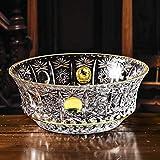 SJYDQ Italien importiert Gaußscher Kristallglas Fruchtschale 22k Gold Gemalt Palast Obst Bowl European-Style Einfache Süßigkeiten Obst E