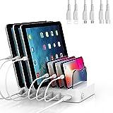 SooPii 6-Port USB Ladestation,Organizer für Mehrere Geräte,6 Kurze Ladekabel Enthalten, für Telefone, Tablets und Andere Elektronische Geräte, Weiß …