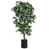 COSTWAY Zimmerpflanze Deko, Kunstpflanze grün, Dekopflanze künstlich, Kunstbaum Pflanzendekoration Innendekoration für Zuhause Garten Büro (180x17x17cm)