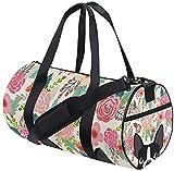 Reisetasche Boston Terrier Flower Training Reisetasche Runde Reisesporttaschen für Männer Frauen