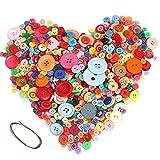 Hoiny 900 Stück Bunte Knöpfe, Kunstoff Bastelknöpfe, Puppenknöpfe - rund, gemischte Größen & Farben zum Basteln Nähen Kinder DIY Basteln Painting Geschenk Dek