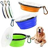 Wenearn Futternapf für Hunde, 3-teilig, faltbar, Hundenapf, tragbar, für Hunde und Katzen, Silikonschüssel für Haustiere, mit Deckel und Karabinerhaken (450 ml)
