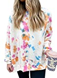 CORAFRITZ Damen Casual Tie Dye Sweatshirt Scrawl Print Langarm Bluse Shirt T-Shirt Pullover Top
