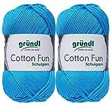 2x50 Gramm Gründl Cotton Fun Häkelgarn Schulgarn + 1 Anleitung für EIN Meerschwein (09 Hellblau)