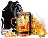 Nanoo and Bee Freundliche Feueranzünder mit einer Drehung: ca. 45 Holzfaser-Feuerzeuge plus Holzspäne und Tasche für Lagerfeuer, Kamine, Grills, Raucher