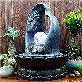 CHINESS Buddha-Figur Zimmerbrunnen, Mit Pumpe Und LED-Beleuchtung, Steingarten Wasserfall, Fischteichbefeuchter Kunstharz