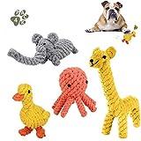 TTMOW Hundespielzeug Seil , Hergestellt aus Natürlicher Baumwolle für Zahnreinigung Geeignet, 4 Stück Welpenspielzeug Elefant Ente Giraffe Tintenfisch Hundeseile Spielzeug für Welpe Kleine Hunde (4pc)