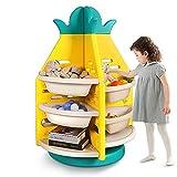 YOLEO Kinderzimmerregal, Bücherregal, Spielzeugregal, Aufbewahrungsregal, Spielzeug-Organizer mit 8 Aufbewahrungsboxen und 4 Paneele, 360 ° drehbar, für Spielzimmer, Schlafzimmer, Kindergarten, Schule