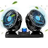 Ventilator 12 Volt, Doppelkopf Auto Lüfter 2 Geschwindigkeiten Kühlender Ventilator Wohnmobil mit Zigarettenanzünder. (Schwarz)