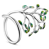 SHEGRACE Damenring mit Grünen Zweigen, Ring aus 925er Sterlingsilber, Platin, Verstellbar, 18 mm, Mehrfarbig
