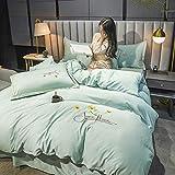 Bettbezug 155x220,Tencel vierteilige Anzug, Sommerlicht Luxus Einzelbett Einzelbett Single, bestickte Seide weiche und atmungsaktive Bettbezug Bettwäsche mit Kissenbezug Bettwäsche-Bettdecke_B_1,8m