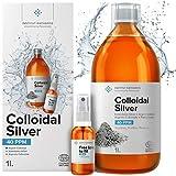 Kolloidales Silber 100% Natürlich 1L ● 40 PPM ● Mit auffüllbarem 30ml-Spray ● Ebook enthalten ● Cosmos Natural zertifiziert ● Institut Katharos