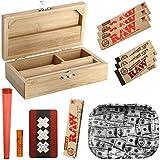 Heisenberg Rolling Box Geschenkset zum Zigarettendrehen, All-in-One Dreherbox, Bambus Aufbewahrungsbox mit Zubehör von RAW Größe S - Small