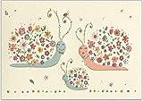 1 süße Glückwunschkarte zur Geburt vom Baby - hochwertige Grußkarte von Turnowsky mit Umschlag und Reliefprägung, Motiv: Schneckenfamilie