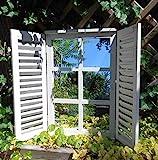 Deko-Impression Wunderschöner Wandspiegel Fensterläden Landhaus Creme Shabby-Chic 59