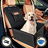 Looxmeer Hunde Autositz für Kleine Mittlere Hunde Vordersitz & Rückbank, Hundesitz Auto mit Sicherheitsgurt, Faltbare Hundedecke Autositzbezug Beifahrsitz Wasserdicht Reißfest für Autoschutz, Schwarz