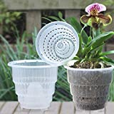 CVERY 4Pcs Klar Blumentopf Orchideen Topf mit Atmungsaktiv Loch Geschlitzt, Plastik Pflanzgefäß Behälter für Garten Desktop Dekor - Wie Bild Show, 10cm