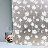 LMKJ Dandelion Pattern Frosted self-Adhesive Window Film, Opaque Privacy Window Sticker PVC Bathroom Bedroom Glass Film A63 45x100cm