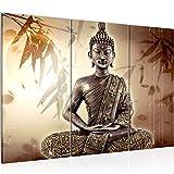 Runa Art Buddha Bild Wandbilder Wohnzimmer XXL Beige Braun Spa 120 x 80 cm 3 Teilig Wanddeko 500331a