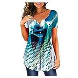 MRULIC T-Shirt Damen V-Ausschnitt Kurze Ärmel Bluse Gradient Farbe Tunika Oversize Oberteile Casual Sommer Lose Shirt (Schwarz,EU-36/CN-S)