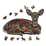 pengge Holzpuzzlespielzeug Für Erwachsene, Tiergrafik Einzigartige Formpuzzlesstücke Besten Für Familienspiel Spielen Sammlung(L 300 pcs, Sika Deer)