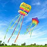 Homegoo Riesige Drachen Flugdrachen 2 Packs, 5M Large Octopus Kite und Riesiger Rainbow Diamond Kite mit langem, Buntem Schwanz für Erwachsene Outdoor-Spiele Aktivitäten Leichtes Flieg