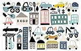 dekodino® Wandtattoo Pastell Fahrzeuge mit Stadt Wanddeko S