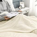 MIULEE Kuscheldecke Granulat Fleecedecke Flanell Decke Weich Flauschig Einfarbig Wohndecken Couchdecke Sofadecke Blanket für Bett Sofa Schlafzimmer Büro, 125x150 cm Cremeweiß