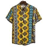 Outwears Hawaii-Hemd, Urlaubshemden, Herren, Baumwolle, Leinen, bedruckt, kurzärmelig, lässig, lockere Hemden, Hemden, Krawatte, Sommer-Tops Gr. 56, Stil Nr. 4