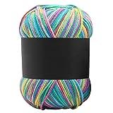 Prosperveil 50g Farbverlauf Strickwolle Doppelstrick Baby Garn Häkelwolle Baumwolle Super Chunky Wollgarn zum Stricken Häkeln DIY Kunst Handwerk 120m lang (Regenbogen)