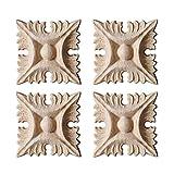 Surui 4 stücke Holz Geschnitzte Möbel Applique Verzierung Schnitzerei Ornament für Tür Hause Tür Decor DIY Handgemacht #2 5 x 5cm