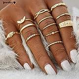 Froomer 12 pcs Midi Ring Set Damen Boho Ringe Finger Tip Ring Schmuck