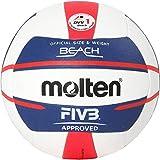 Molten Europe Ball-V5B5000-DE Beachvolleyball, Weiß/Blau/Rot, 5