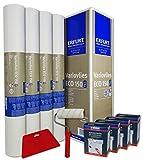 WACOLIT-SET 4 Rollen 75m² ERFURT Eco Vlies 150g inkl. 4x Wilckens Rollkleister + Tapetenglätter + Kleisterroller, Variovlies Malervlies überstreichbare Vliestap