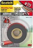 Scotch doppelseitiges Montageklebeband in Grau 40021915 – Extrem starker Halt – Für die Benutzung draußen geeignet – 19 mm x 1,5